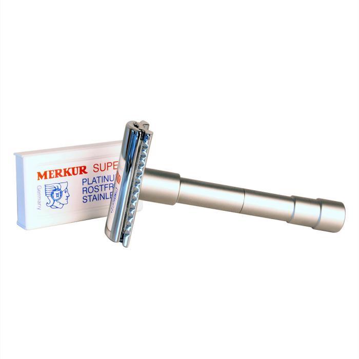Merkur Reiserasierhobel mit Etui, dreiteilig, Gradschnitt