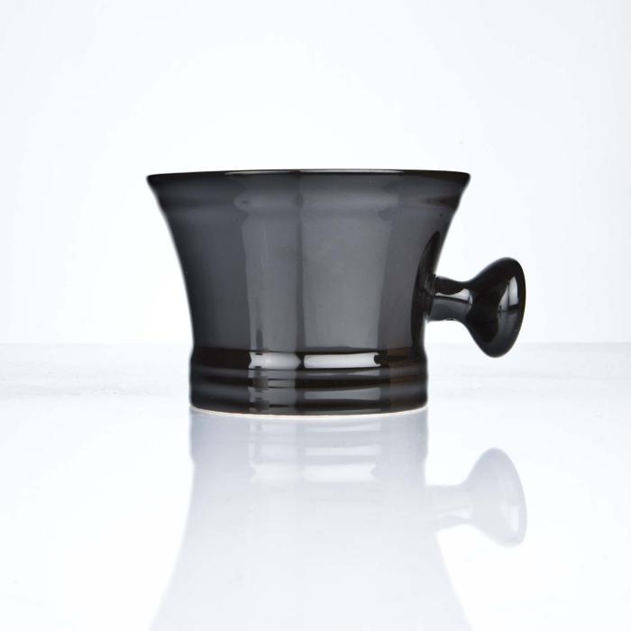 Erbe Rasierschale Keramik schwarz mit Knauf