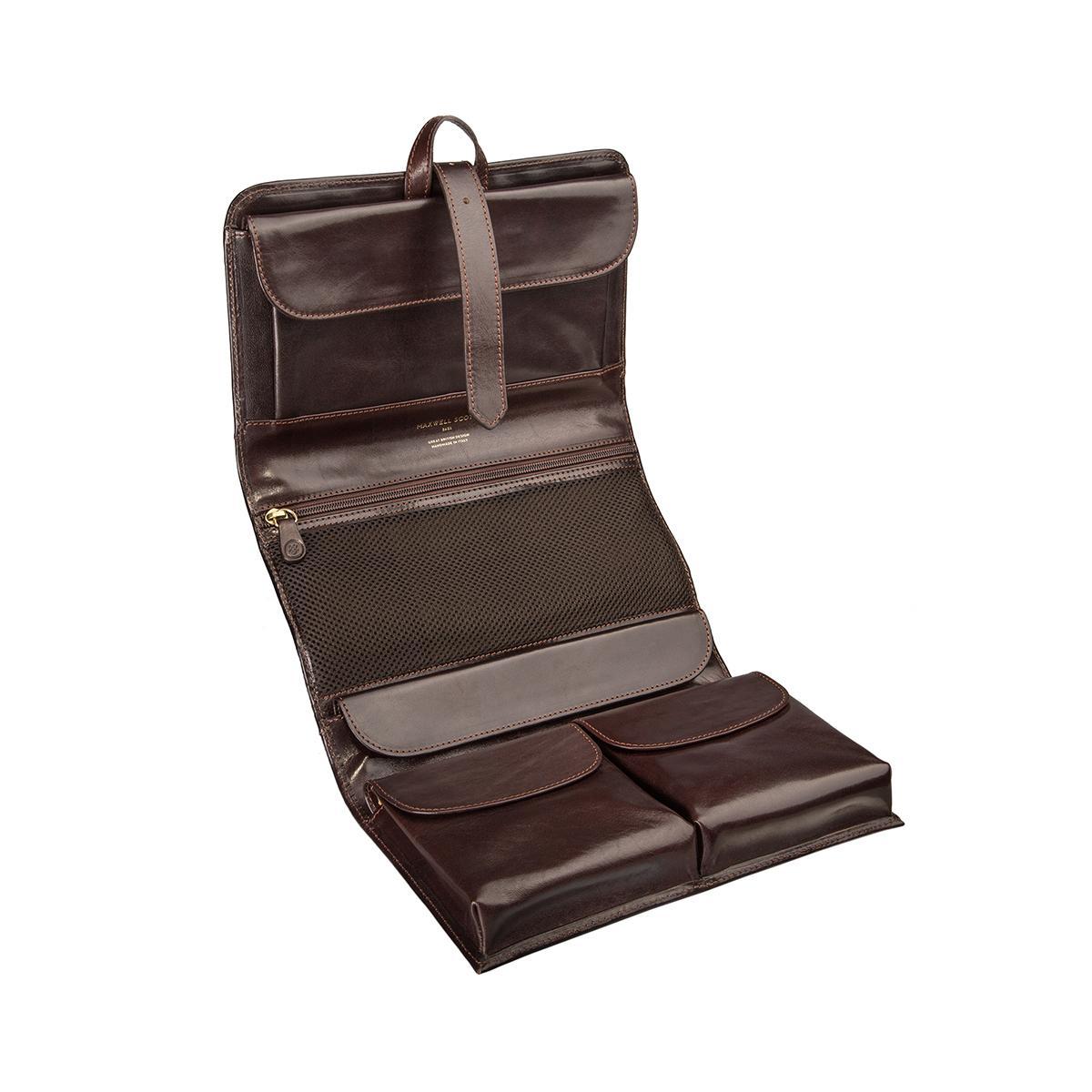 maxwell scott bags luxus leder kulturbeutel in dunkelbraun pratello. Black Bedroom Furniture Sets. Home Design Ideas