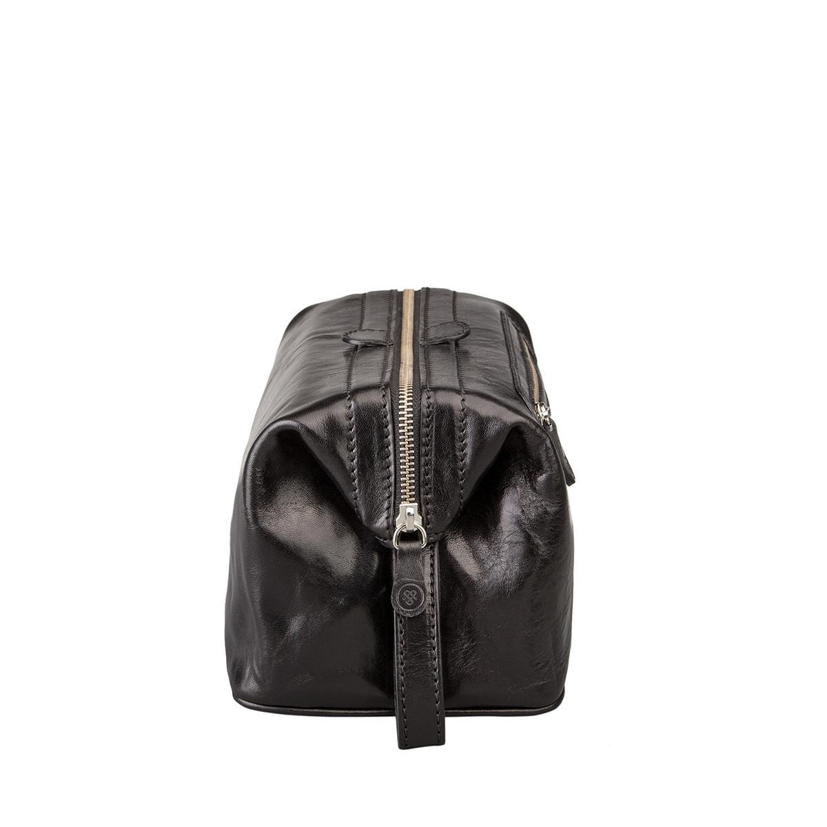 maxwell scott bags luxus herren leder kulturbeutel in schwarz dunol. Black Bedroom Furniture Sets. Home Design Ideas
