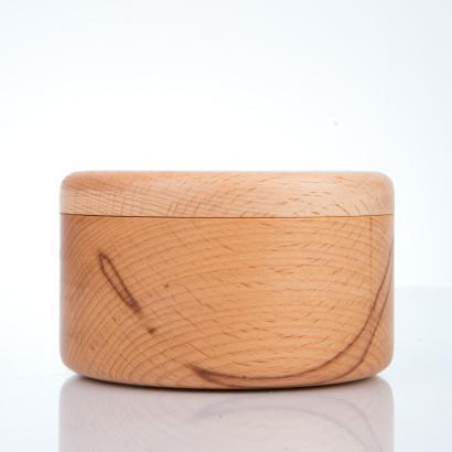 Rasierschale aus Buchenholz mit Deckel, rund, handgearbeitet