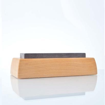 Messer-Schärfset 150x40mm blau / Anreibestein / Leder / Holzsockel