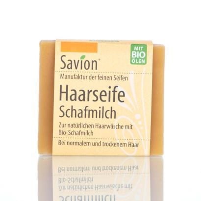 Savion Schafmilch Bart- und Haarwaschseife,  80-Gramm-Block, handgemacht
