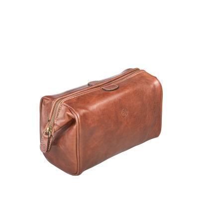 Maxwell Scott Bags - Luxus Leder Kulturbeutel für Herren in Cognac (DunoM)
