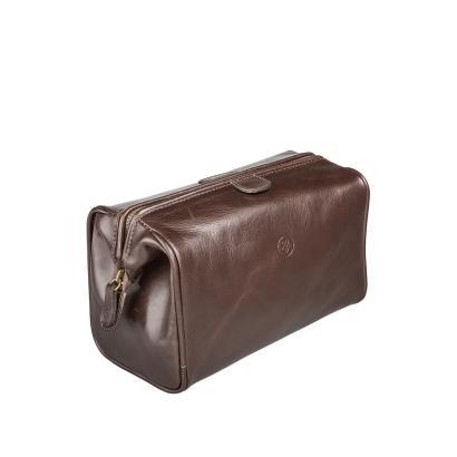 Maxwell Scott Bags -  Luxus Herren Kulturtasche aus Leder in Dunkelbraun (DunoM)