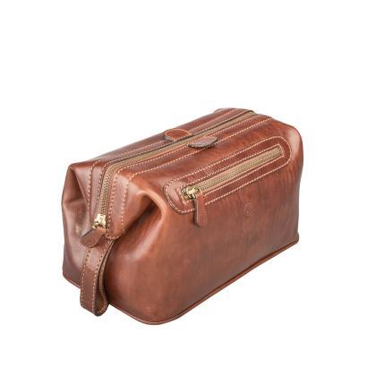 Maxwell Scott Bags - Luxus Leder Kulturtasche für Herren in Cognac (DunoL)