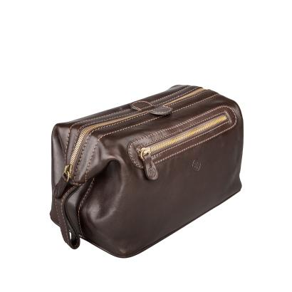 Maxwell Scott Bags - Luxus Kulturtasche aus Leder in Dunkelbraun (DunoL)