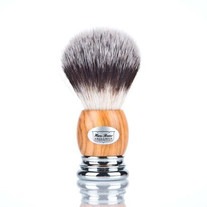 Hans Baier Shaving Brush Olivewood Silvertip Fibre Vegan
